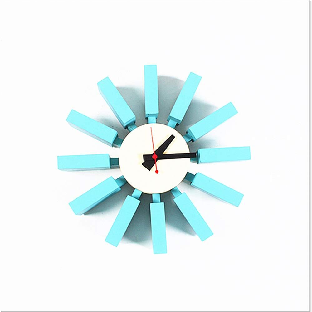 掛時計 現代の装飾的な芸術的な壁掛け時計12インチフレームレスメタルとウッドの電池式クォーツ時計秒針なし番号サイレントティックウォールアートの装飾のリビングルームキッチンバー寝室ブラックホワイト (色 : 青, サイズ : 12Inches) 12Inches 青 B07QVBG8SQ