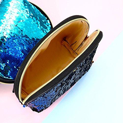 de sac Sirène sac rose Embrayage Soirée Bricolage Bleu Brillant Paillettes Femmes Réversible ciel Main Stillshine à sac Paillettes Cosmétique wSnBxv4tq7