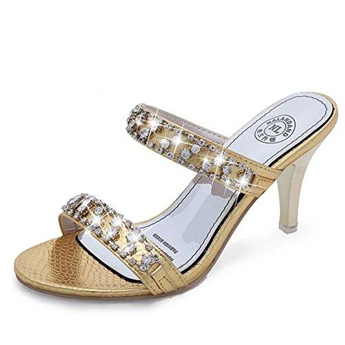 WHLShoes Sandalias y chanclas para mujer Las Mujeres Los Zapatos De Tacón De Moda De Verano Elegante Con Strass En La Palabra Wild Casual Golden