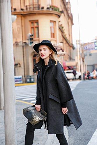You.U Mujeres Spring & Fall Grey Wollen Oversized Coat con Collar de pie