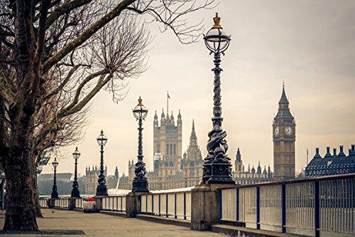 (United Kingdom London Fence Street lights Big Ben (No.011359) - Poster Art Print on Canvas 36x24 inch)