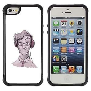 "Pulsar iFace Series Tpu silicona Carcasa Funda Case para Apple iPhone SE / iPhone 5 / iPhone 5S , Geek Música Gafas corbata Arte Auriculares"""