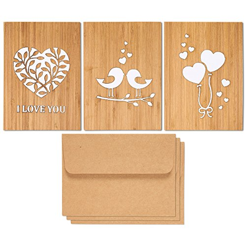Pack of 3 Love Theme Wood Greeting Cards with Matching Kraft Envelopes - Perfect for Anniversaries, Valentine's Day, Birthdays - Made from Real Bamboo, 5 x 7 Inches, Brown, White