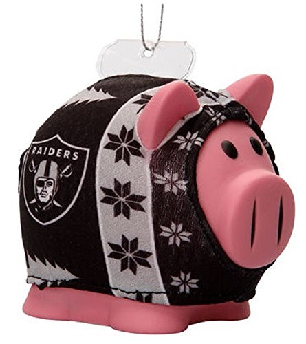Oakland Raiders NFL Ugly Sweater Piggy Bank Ornament