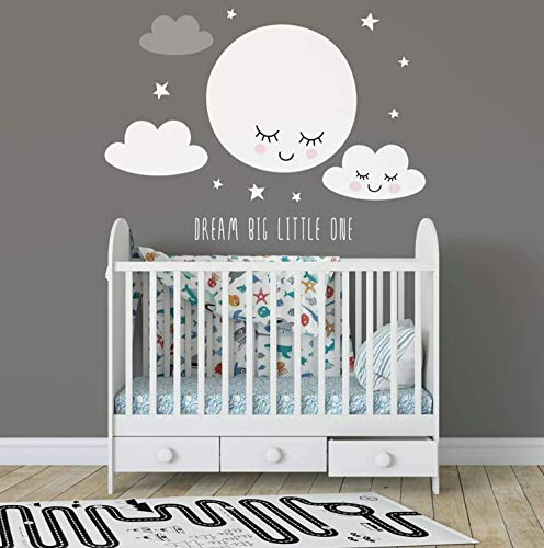 (Murwall Cloud Wall Decal Stars Wall Stickers Smiling Moon Peel and Stick Kids Wall Stickers )