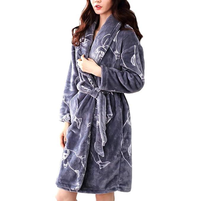 LIULIFE Bata De Mujer Bata De Invierno Espesar Bata De Baño Calzado Largo Kimono Moda Loungewear - con Dos Bolsillos: Amazon.es: Ropa y accesorios