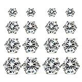 JewelrieShop Hypoallergenic Nickel-free Lead-free Stud Earrings, Stainless-steel Round Cubic Zirconia Men Earrings