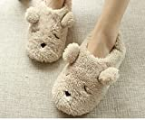 Womens Warm Fleece Slippers Ladies Bear Winter Non-slip Slippers