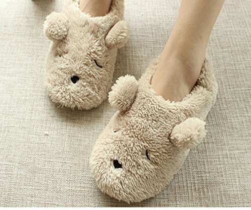 Womens Indoor Warm Fleece Slippers, Ladies Girls Lovely Cartoon Bear Winter Soft Cozy Thermal Non-slip Fuzzy Plush Mules Home Indoor Floor Slip-on Shoes Ankle Boots