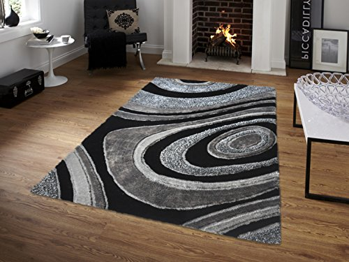 All New Contemporary Solid Colored Silky Touch MultiColor Tufted 3D Shag Rugs by Rug Deal Plus (5' x 7', Black/Grey) by Rug Deal Plus