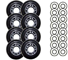 These are a first quality, blank 72mm 82a outdoor wheel. Abec 9 Bearings Included.