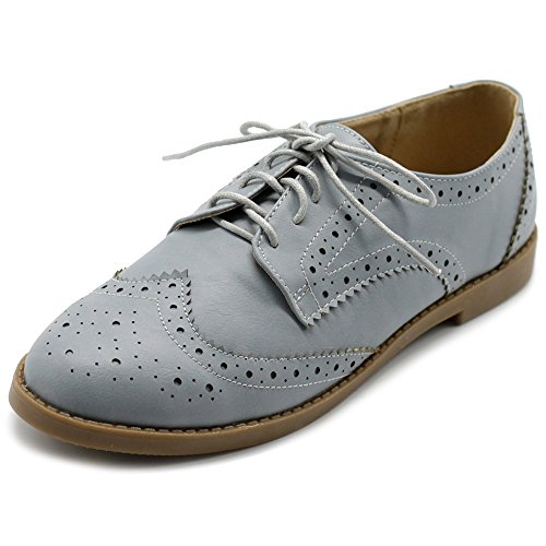 Ollio Women's Flats Shoes Wingtip Lace Up Oxfords M2921 (8.5 B(M) US, Ice Grey) ()