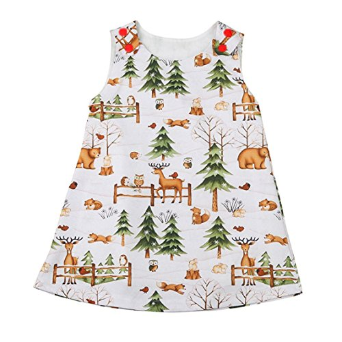 ☼Nation Toddler Baby Infant Girls Woodlands Cartoon Princess Dress Outfits Clothes (12M, - Ok Woodland