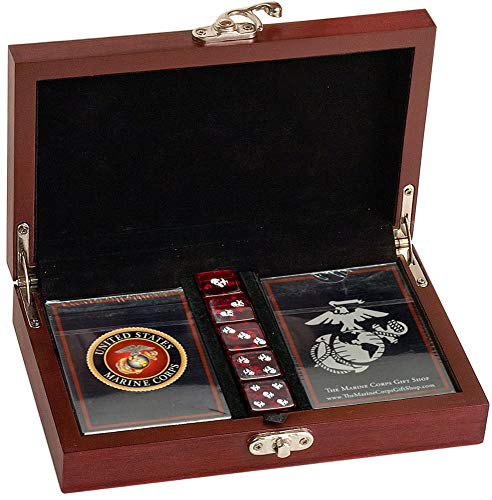 Marine Corps Playing Cards with Marine Corps Dice Gift Set (Chess Playing Cards)