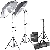 Neewer 600W 5500K Photo Studio Day Light Black/Silver Umbrella Continuous Lighting Kit for Product,Portrait and Video Shoot Photography