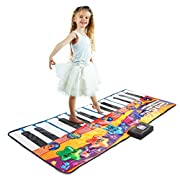 Joyin Toy 71  Gigantic Keyboard Playmat Piano Play Mat Kids Electronic Music Playmat Colorful Dance Mat-24 Keys with Record, Playback, Demo, Play, Adjustable Vol. Mode