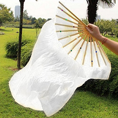 RuiXiang 1.8M Long Dance Fan,Belly Dance Bamboo Fan,Yangko Fan Silk Fan,Square Dance Morning Practice Simulation Silk Fan (White)