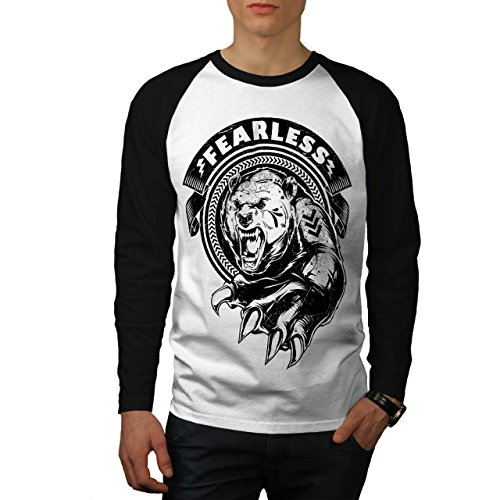 [Fearless Wild Animal Tiger Bear Men NEW S Baseball LS T-shirt | Wellcoda] (Bear Jew Costume)