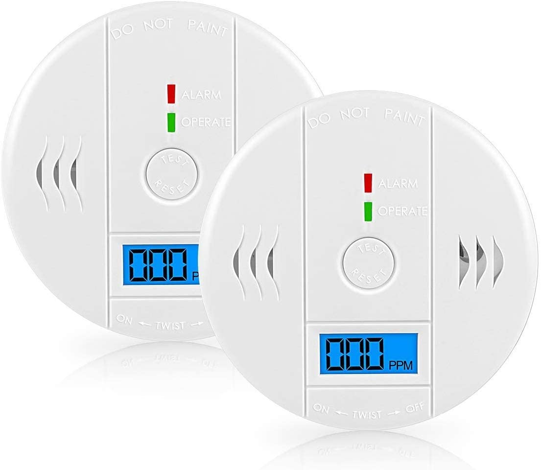 Carbon Monoxide Detector Alarm,GLBSUNION Digital Display Carbon Monoxide CO Alarm Beep Warning for Basement Travel Home Office Kitchen Bedroom House Living Room Hotel Garage,Comply with UL 2034,2-Pack