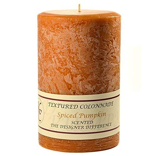 Textured 4x6 Spiced Pumpkin Pillar Candle For Wedding/Dinner, Holiday Event, Home Decoration, 70 to 90 hours, 4 in. diameterx6.25 in. tall, 1 Piece