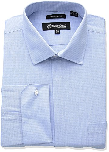 STACY ADAMS Men's Big and Tall Tonal Dobby Classic FIT Dress Shirt, Blue, 19