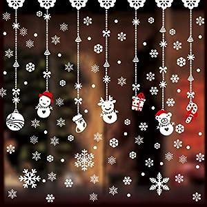 GeeRic Adesivi Natale Finestra, 142 PCS Adesivi Vetro di Fiocco di Neve Rimovibile Adesivi Vetrina Babbo Natale Alce DIY Decorazioni Natalizie,Vetrofanie Natale Finestre per Casa Negozio Soggiorno 5 spesavip