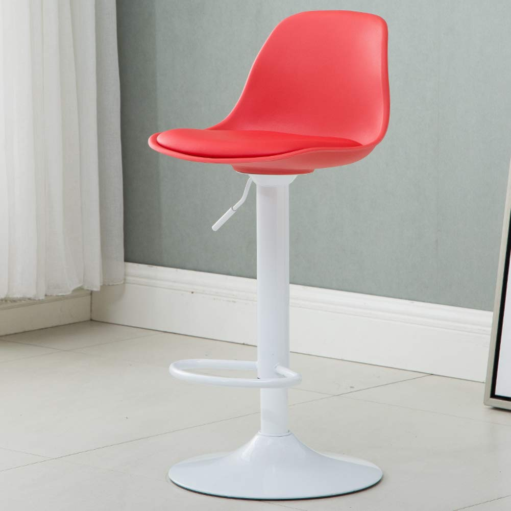 Red A Modern Swivel Barstools, Height-Adjustable Chair High Stool with Backs Pub Chair Plastic Filled Cotton Counter Bar Stool Chair for Bar Office Home-Yellow