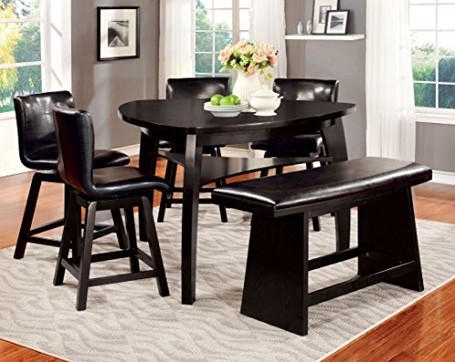 Furniture of America Morley 6-Piece Pub Dining Set, Black For Sale