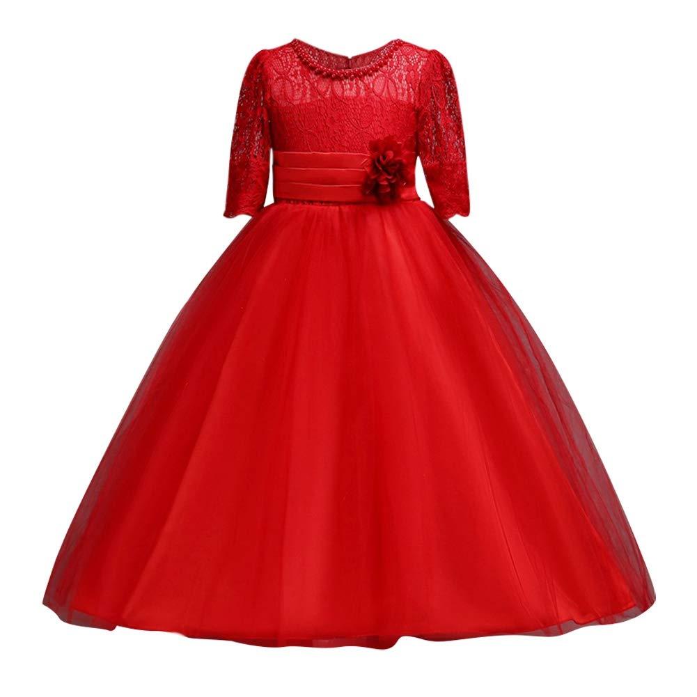 Huoju Dentelle Princesse Jupe Manche Courte Tutu Jupe Enfant Filles Robe Mariage Jupe Longue Robe 4-15 Ans