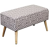 Otto & Ben 30 Storage Bench - Mid Century Ottoman with EASY LIFT Top, Upholstered Shoe Ottomans Seats for Entryway and Bedroom, Moroccan Grey