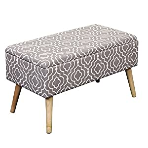 Otto & Ben 30-in EASY LIFT TOP Upholstered Ottoman Storage Bench – Moroccan Grey feat. cushioned seating with hidden storage / pneumatic hinge / pre-drilled real wooden legs