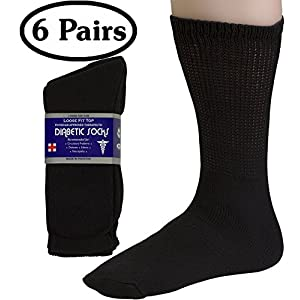 Debra Weitzner Men's 6-pack Diabetic Crew Socks,Black,10-13