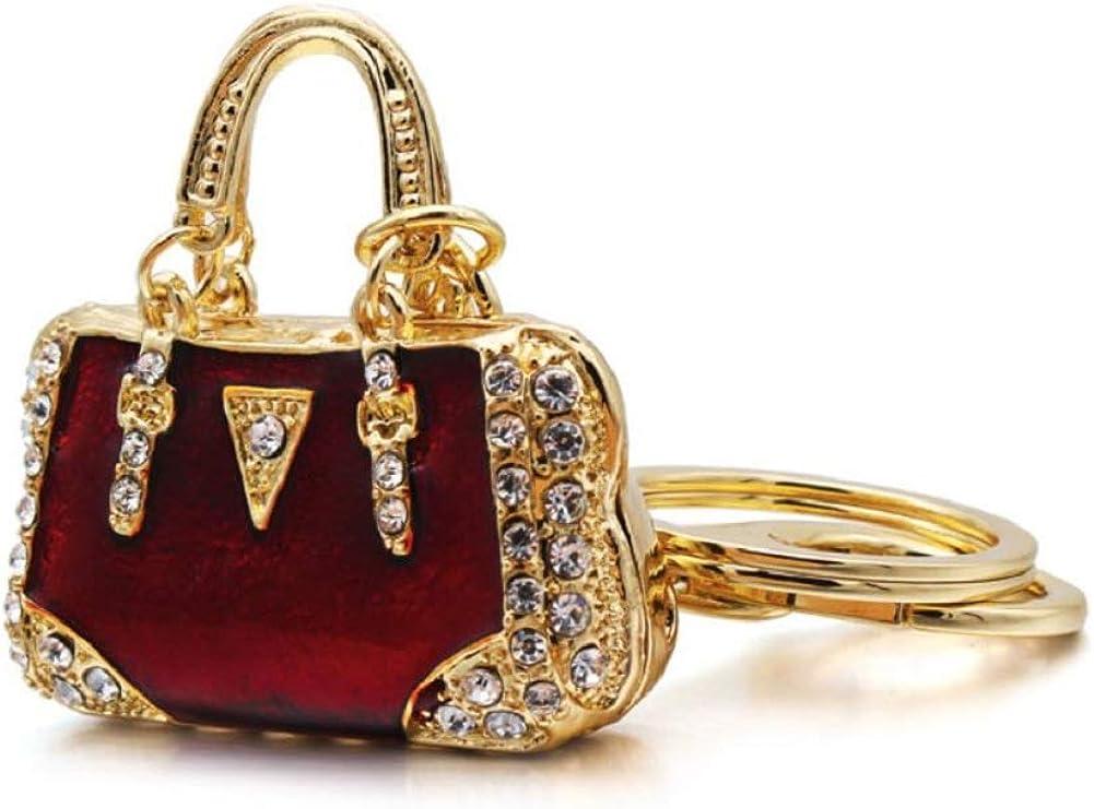 Pomeranian Dog Rhinestone Crystal Keychain Key Holder Purse Handbag Bling Charm