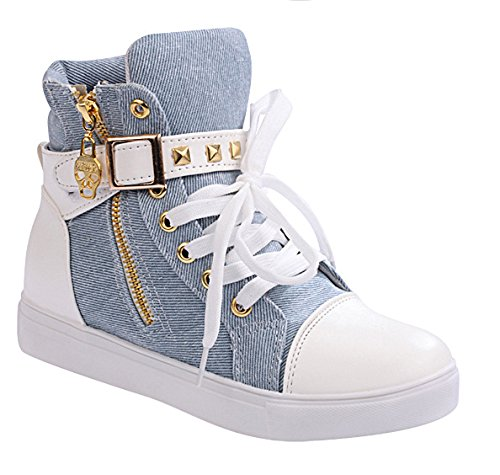 Blue Sneaker Shoes Womens High Lace TM up Zip iMaySon Increat Wedge Top Skull qXw71gF