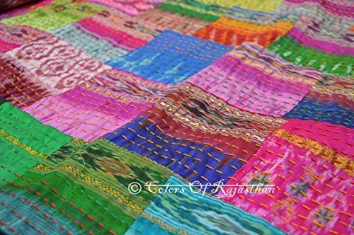 COR's Twin Size Patola Silk Patch Work Kantha Quilt , Kantha Blanket Bedspread, Patch Kantha Throw, Twin Kantha, Kantha Rallies Indian Sari Quilt, Size 60'' X 90''