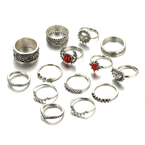 Balakie 14pcs Women Bohemian Vintage Silver Stack Rings Engraved Knuckle Blue Rings Set