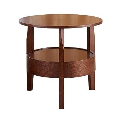 ACZZ Mesa auxiliar para sofá, mesa redonda pequeña de madera maciza de 2 niveles, mesa de sofá simple para sala de estar, mesa de lectura para almacenamiento doméstico con cajón,C,60 * 60 CM: Bricolaje y herramientas