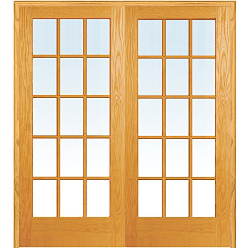 y ZA19959BA Unfinished Pine Wood 15 Lite True Divided Clear Glass, Both Active Prehung Interior Double Door, 72