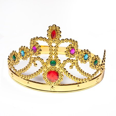 Gold Plastic Jeweled Queen Crown with Colored Gem (Budget Friendly Halloween Costumes)