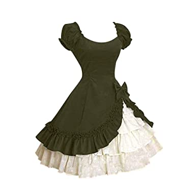 Covermason Damen Mittelalter Kleid bodenlangen Cosplay Dress