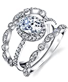 Metal Masters Co. Sterling Silver 925 Engagement Rings Wedding Band Bridal Set Oval Cubic Zirconia 3pcs 9