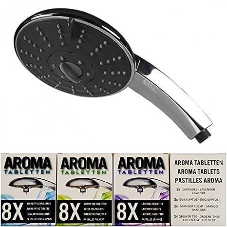 Alcachofa 3Funktionen, incluye 32 Aroma comprimidos cromado ducha: Amazon.es: Hogar