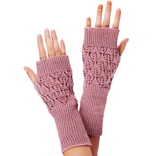 kingfansion Womens Unisex Fingerless Warm Gloves Arm Warmer Mitten (Pink)
