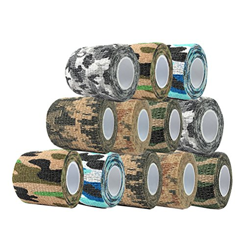 Vankcp 12 Roll (6 Pattern) Camouflage Tape Cling Military Camo Tape 177.2'' Tactical Protective Self-Adhesive Multi-Functional Waterproof Non-Woven Fabric Stealth Tape Wrap