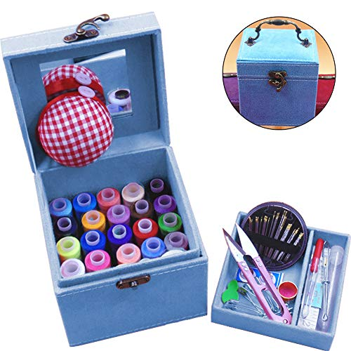 TINTON LIFE 2 Layers Sewing Kits with Vintage Box Sewing Accessories Supplies Kits for Adults Kids Beginner Travel Sewing Basket Metal Handle Blue