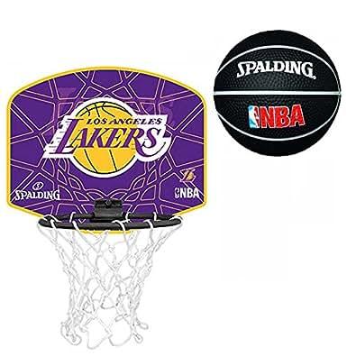 Spalding L.A. Lakers - Juego de mini canasta y balón de baloncesto