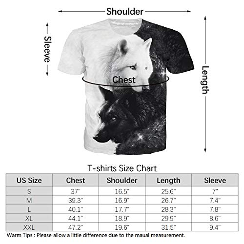 Mens Womens Short Sleeve Tops 3D Digital Print Black & White Galaxy Wolves Graphic Tees Classic Crew Neck Muscle T-Shirts Loose Fit Hip Hop Retro Clothes for Summer Casual Home Daily Wear XXL