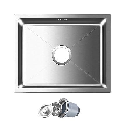 AuraLum Lavello da cucina in acciaio inox spazzolato, 50 x 40 x 22 ...
