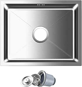 FChome Kitchen Sink Bowl 19.7X15.7 Inch Undermount Stainless Steel Bar Sink 3 mm Thickness with Accessories,Brushed Stainless Steel.