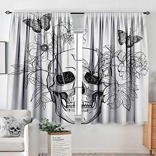 Curtain Panels,Set of 2 Day of The Dead,Skull with Flower Blooms and Butterflies Vintage Gothic Design Print,Black and White,Modern Farmhouse Country Curtains 42